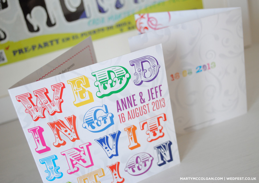 multi colour typography wedding invitations