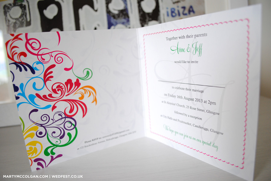 rainbow carnival wedding invitations