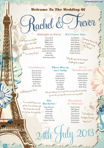 vintage chic paris theme wedding table plan