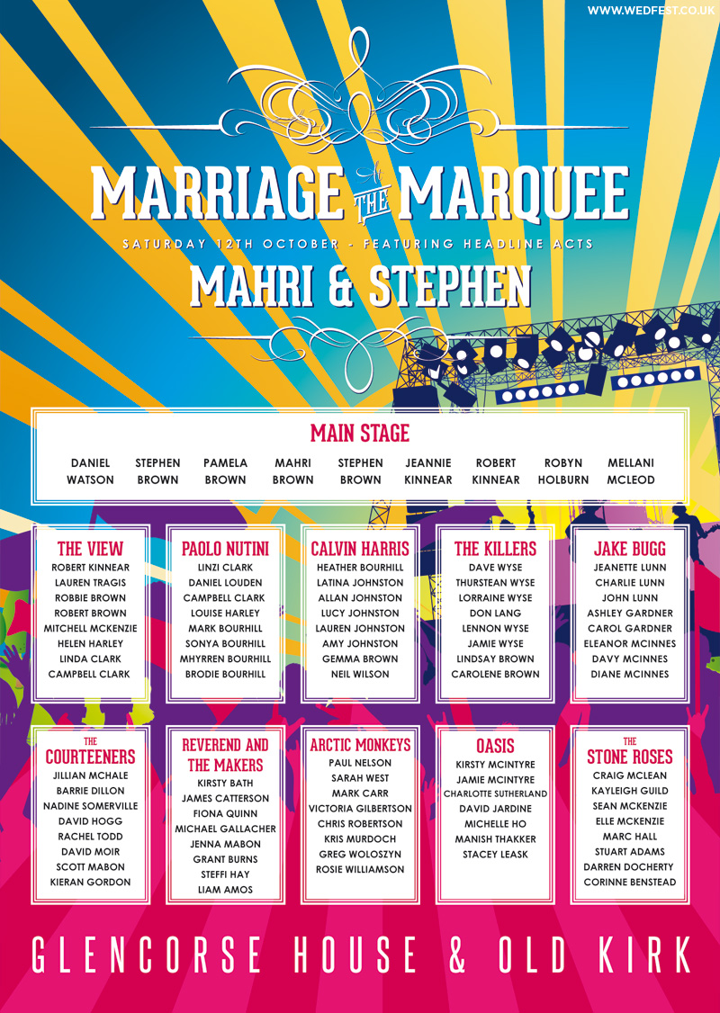 concert poster line up wedding planner