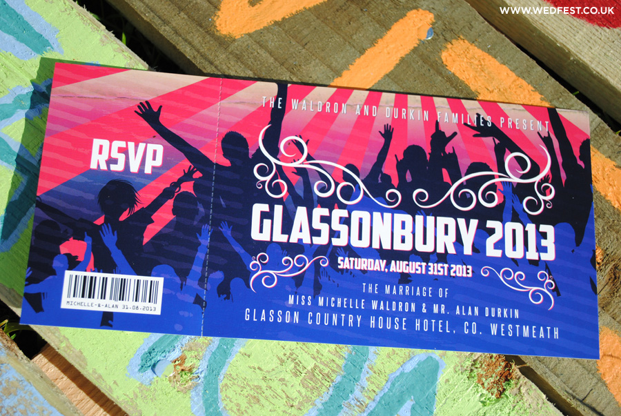 glastonbury festival wedding invitations