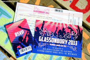 glastonbury festival wedding invites