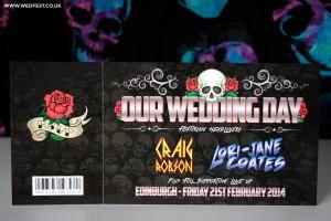 rock and roll skulls roses wedding ticket invitations