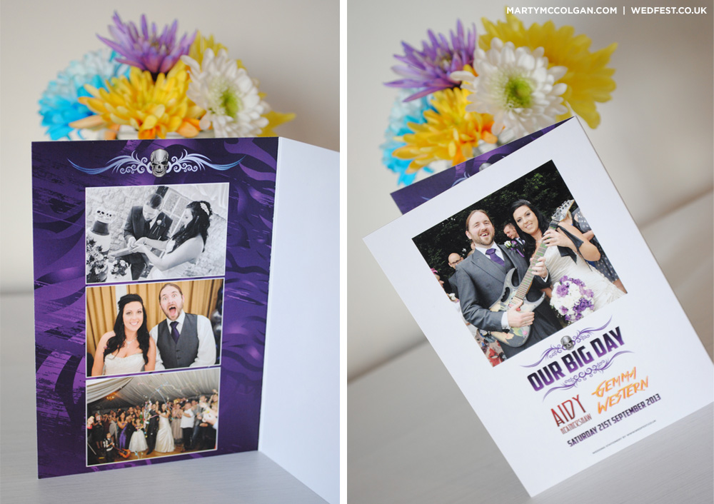 rock and roll wedding thank you cards