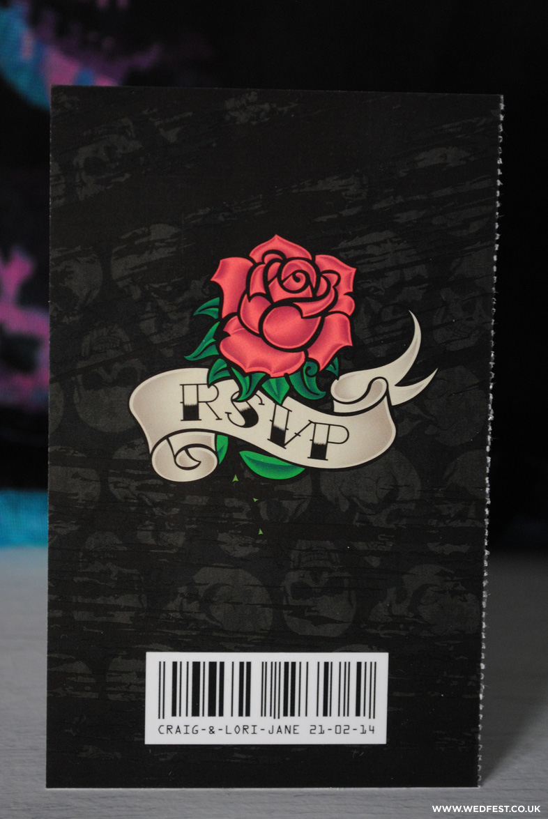 rose tattoo wedding stationery