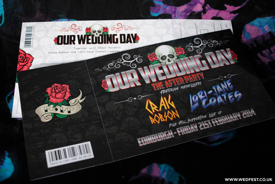 skulls and roses rock n roll wedding invitations