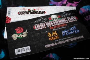 skulls and roses rock n roll wedding invitations