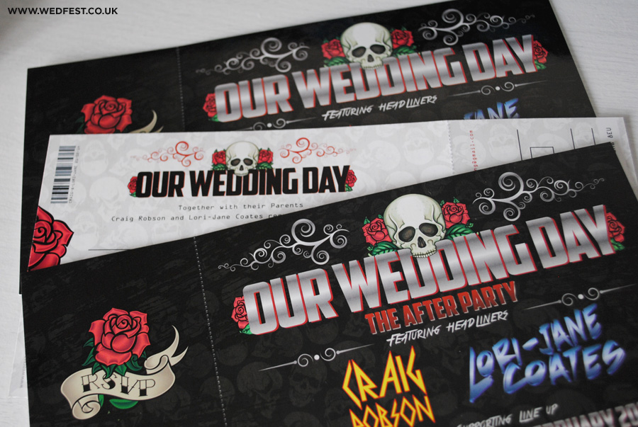 skulls and roses wedding stationery