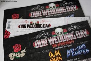 skulls and roses wedding stationery