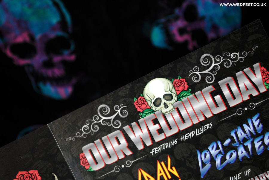 skulls roses goth wedding invitations