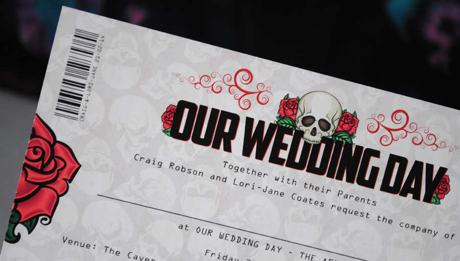skulls roses tattoo wedding invitations
