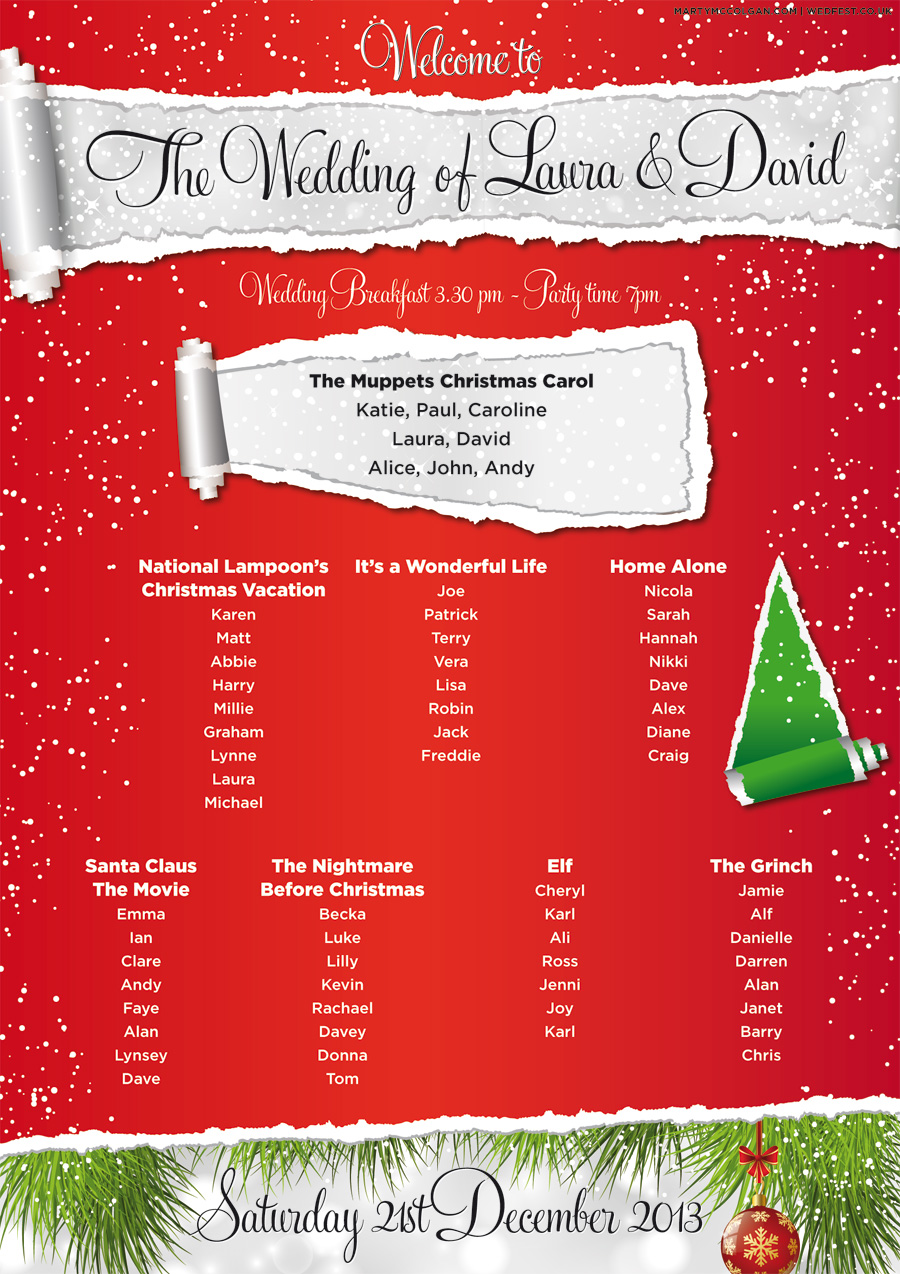 christmas wedding table seating plan