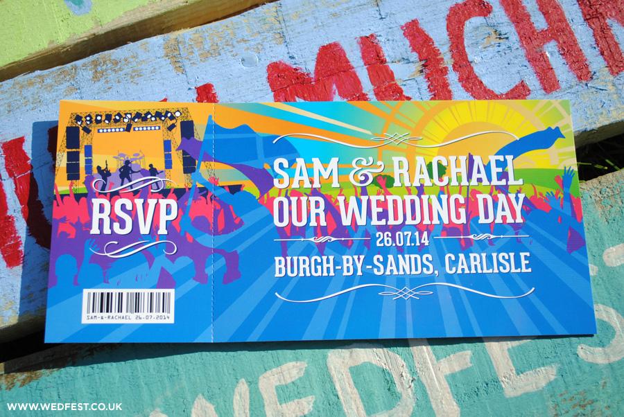 invitations de mariage de festival de musique de billets