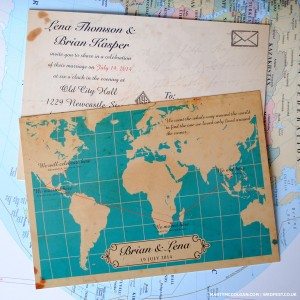 map of the world wedding invites