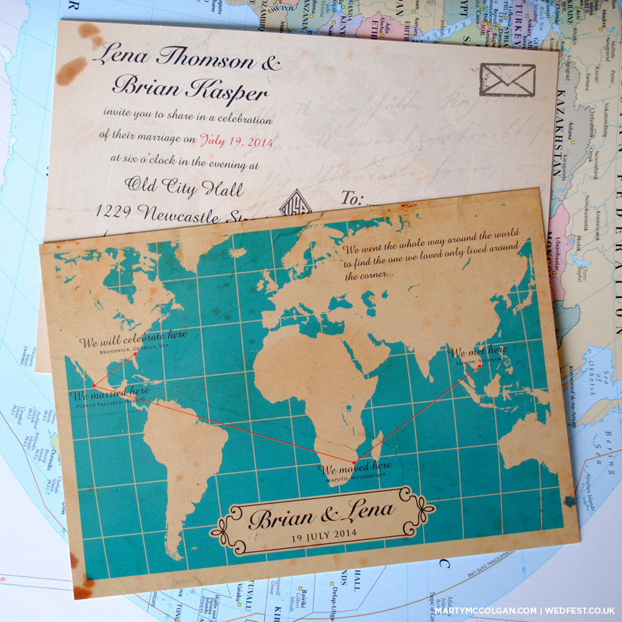 map of the world wedding invites