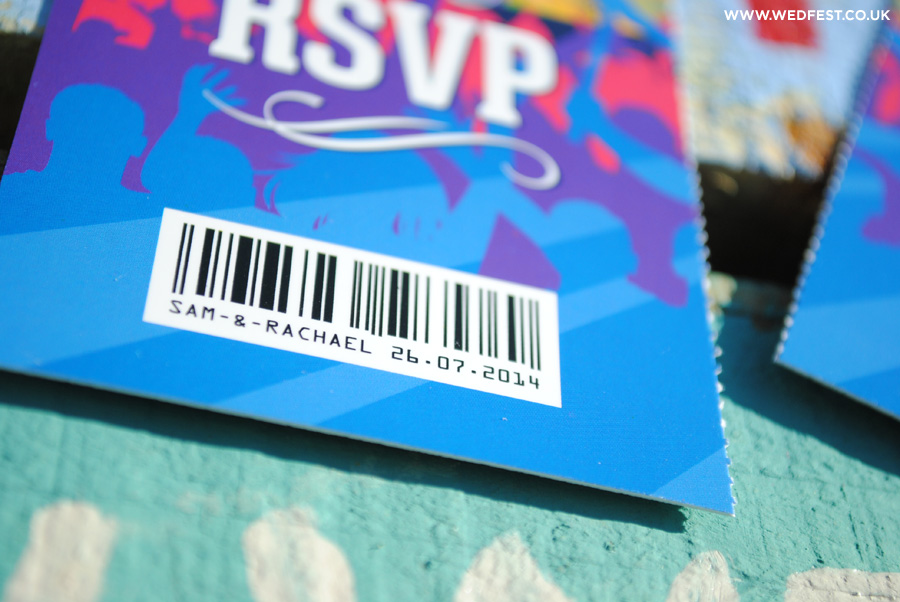 rsvp ticket stub music themed wedding invites