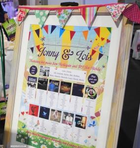 summer festival bunting wedding seating plan