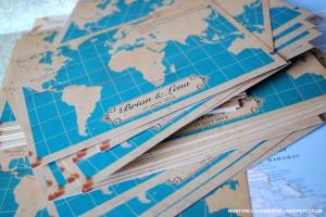 vintage world map wedding invites