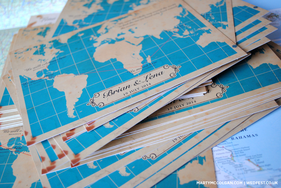vintage world map wedding invites
