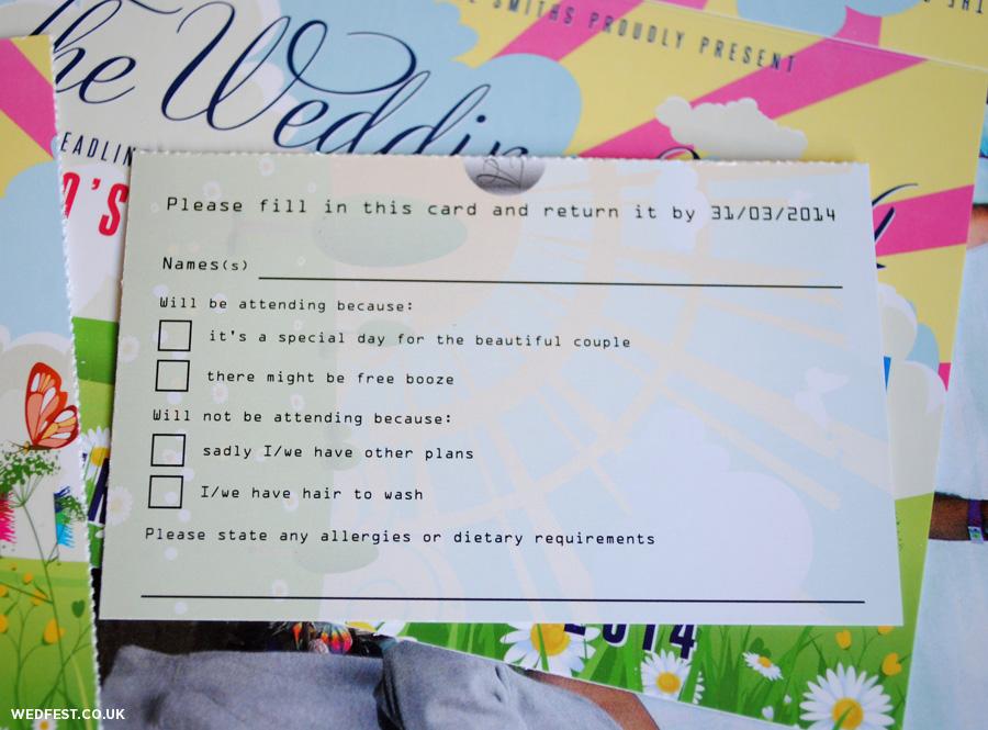 whimsical ticket wedding invitations