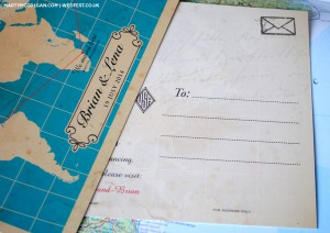 world map postcard wedding invites