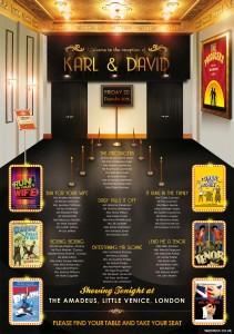 Theatre Themed Wedding Seating Plan, civil partnership