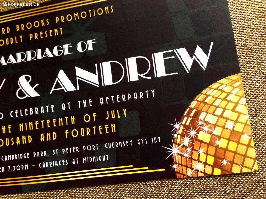 disco ball themed wedding invitations