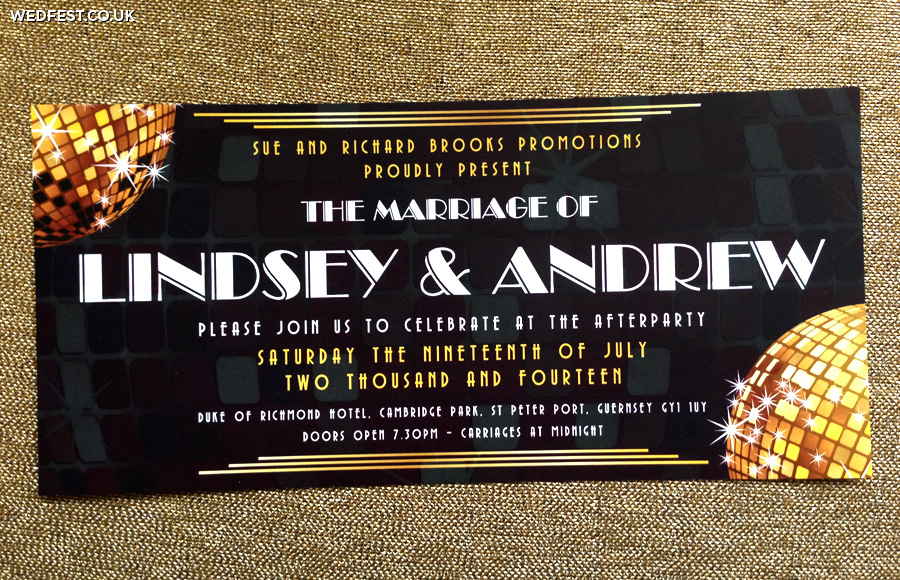 disco themed wedding invitations