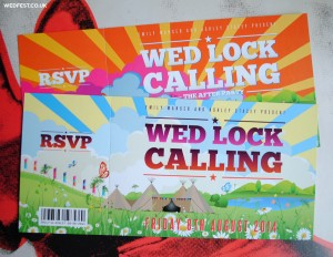 tipi themed festival wedding invitations