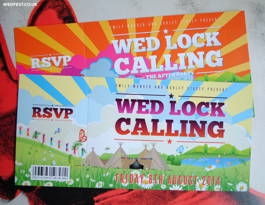 tipi themed festival wedding invitations