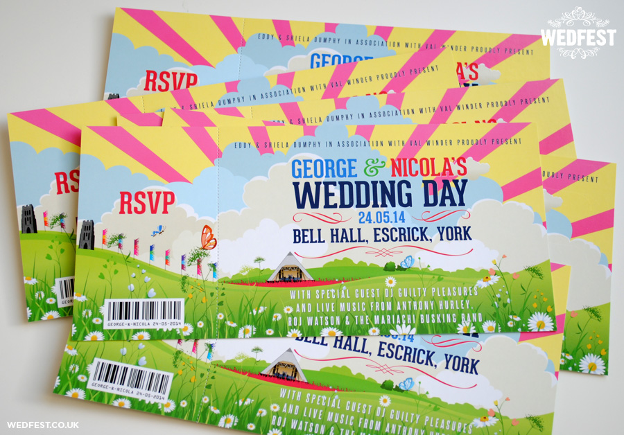 festival themed wedding invitations