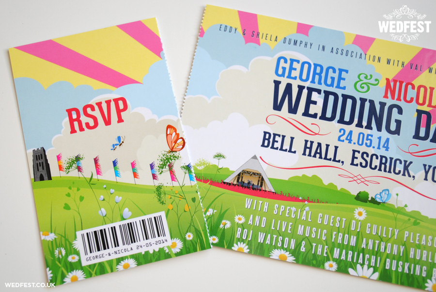 festival tickets wedding invites