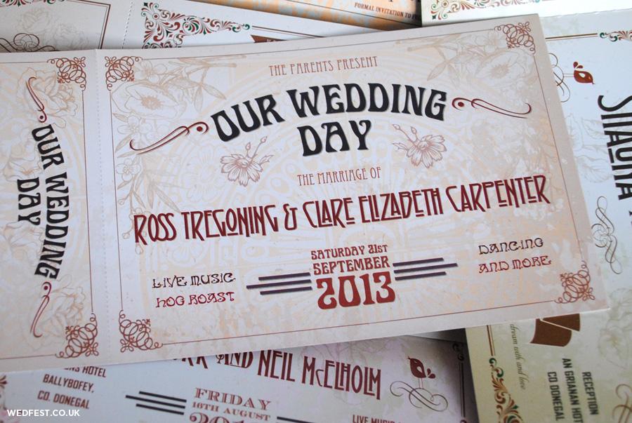 Vintage Shabby Chic Ticket Wedding Invitations