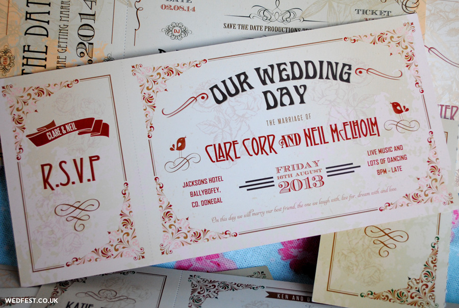 Vintage Ticket Wedding Invitations Wedfest