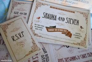 vintage ticket wedding stationery