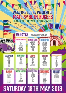 festival poster bunting vw campervan wedding table seating plan