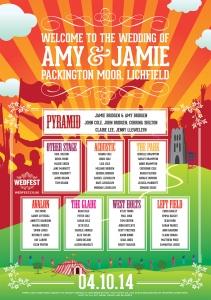 festival poster inspired wedding table plan