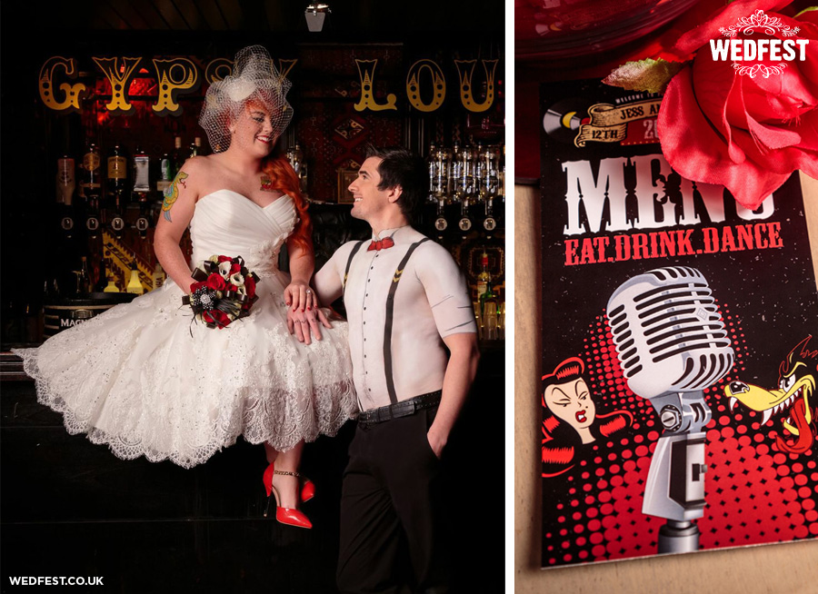 rockabilly rock and roll bride themed wedding