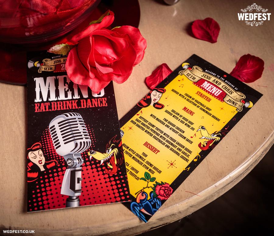 rockabilly wedding menus