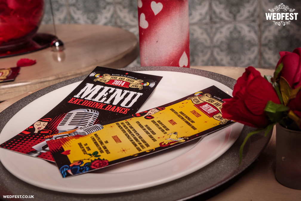 rockabilly wedding table menu ideas