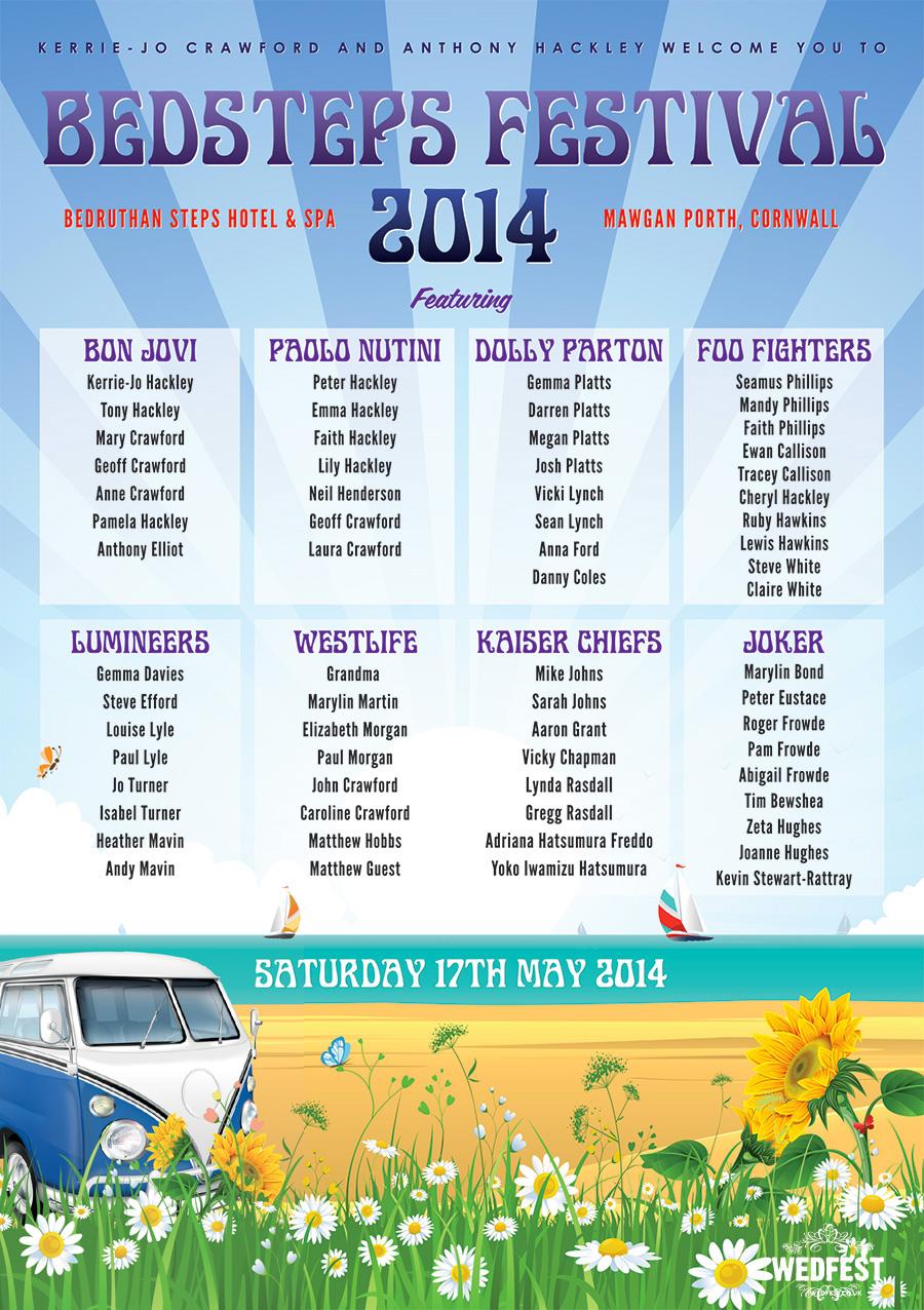 beach festival wedding seating plan