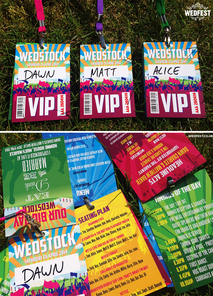 festival style wedding programmes