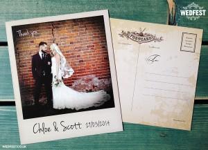 vintage chic polaroid photo wedding thank you cards