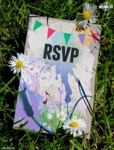 paint splatter wedding invite