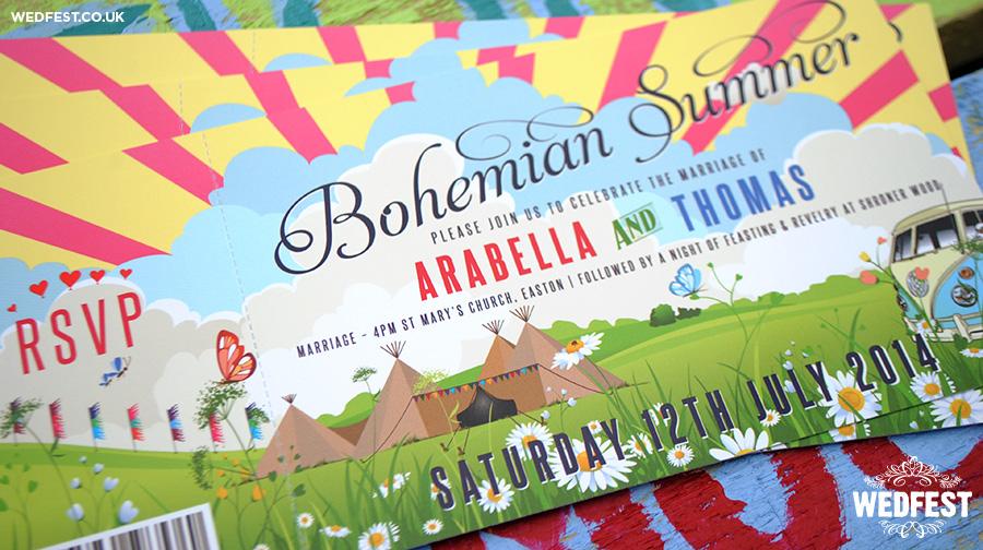bohemian summer wedding invitations