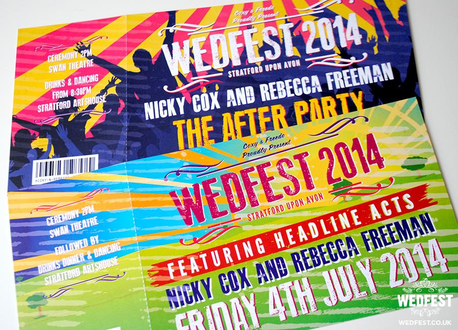 festival theme wedding invitations