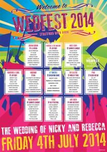 festival themed wedding table plan