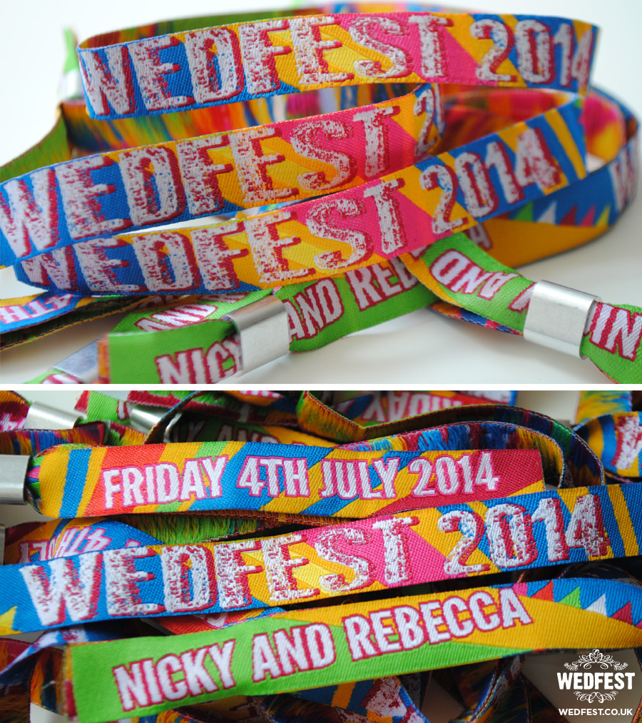 festival themed wedfest wedding wristbands