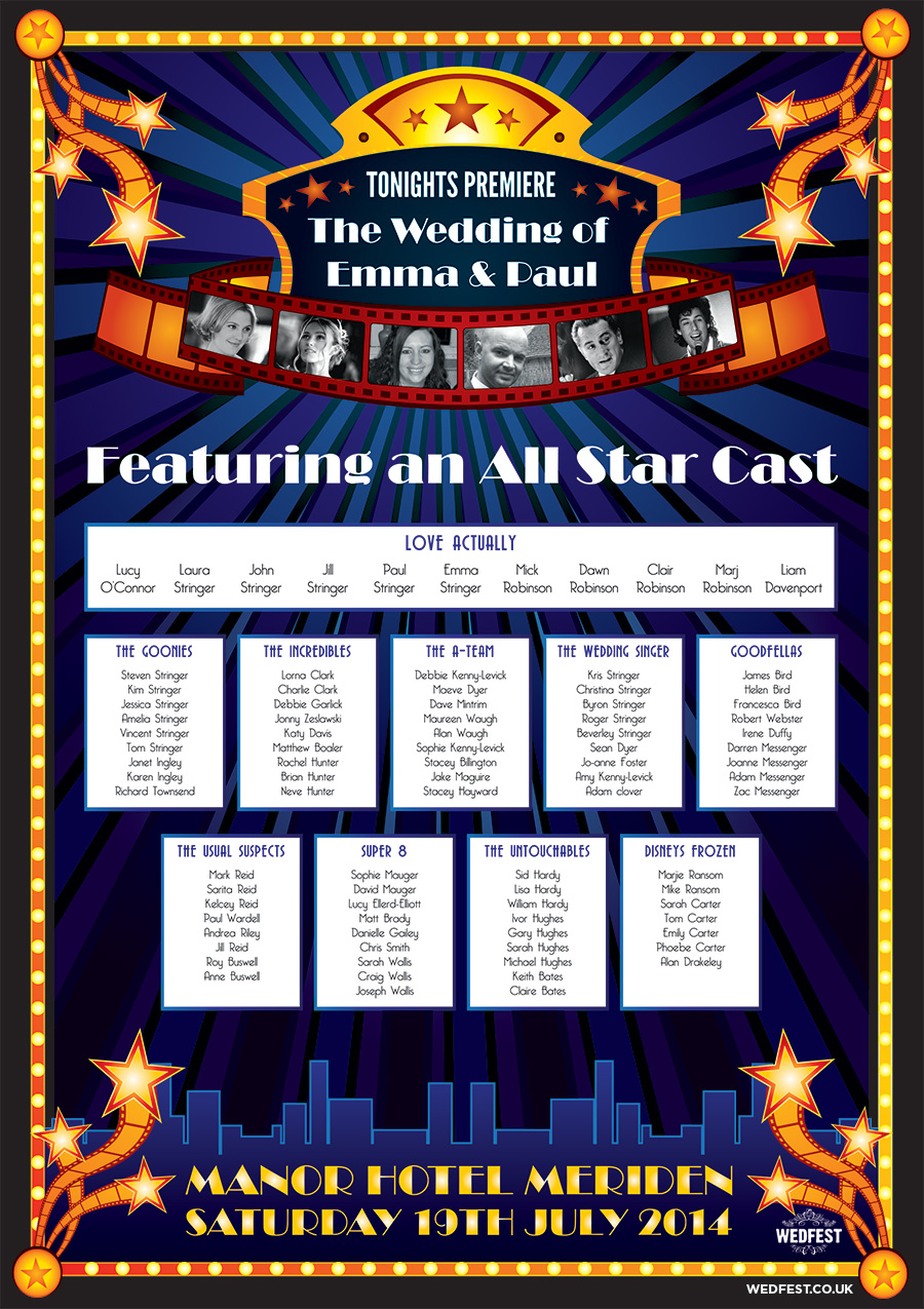 movie themed wedding table plan