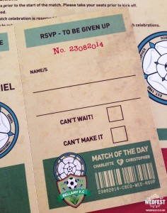 retro football tickets wedding invitations